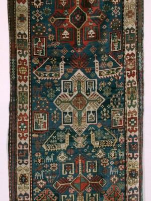 Kazak Akstafa Caucasico antico cm 333×125